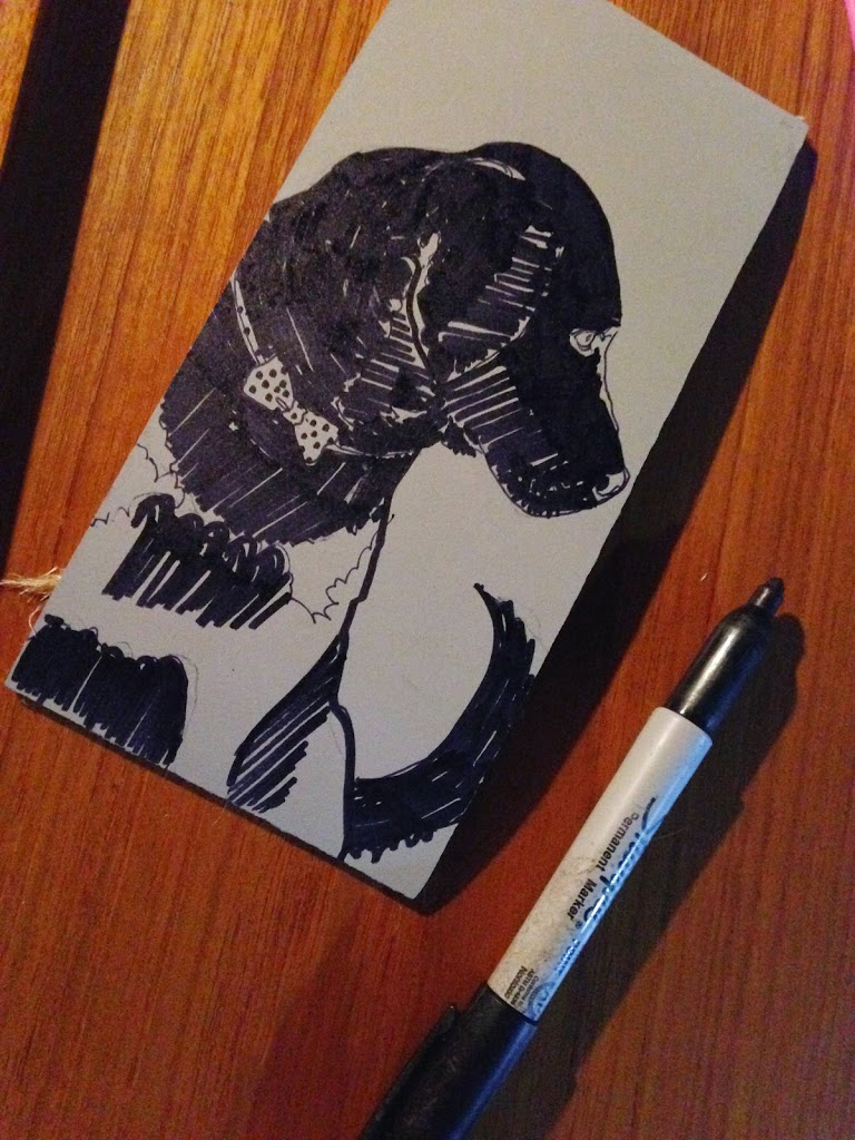 Linocut: Dapper Lab Dog Art - belindadelpesco