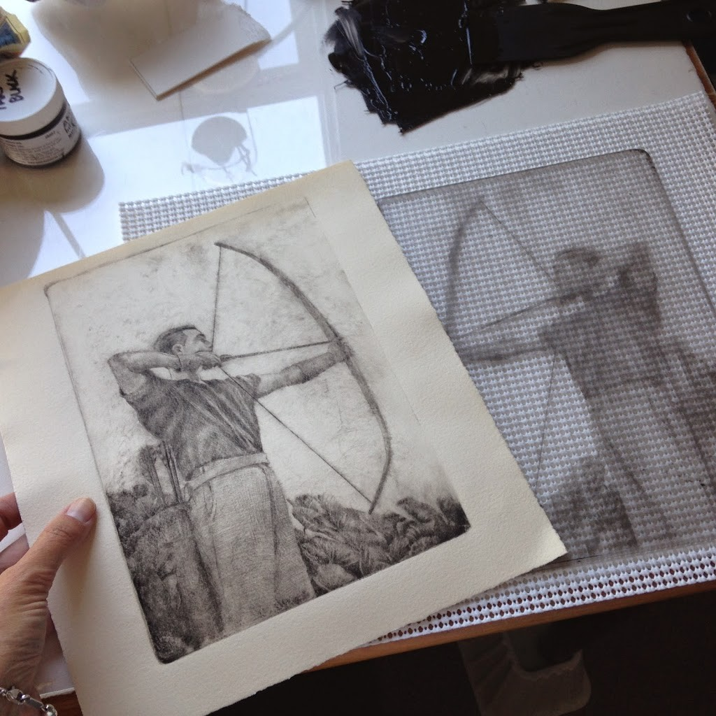 A drypoint etching next to the plate it was printed from, of an archer pulling a bow and arrow back to shoot
