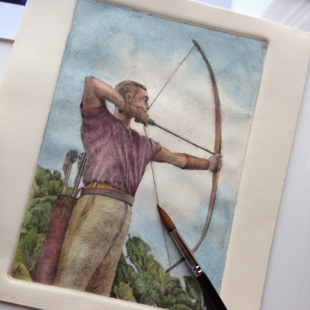 a drypoint etching of an archer, pulling back his bow. The etching is painted with watercolor