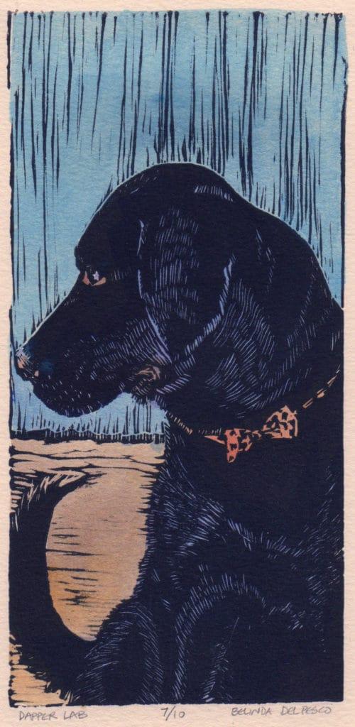 linocut-of-a-dog