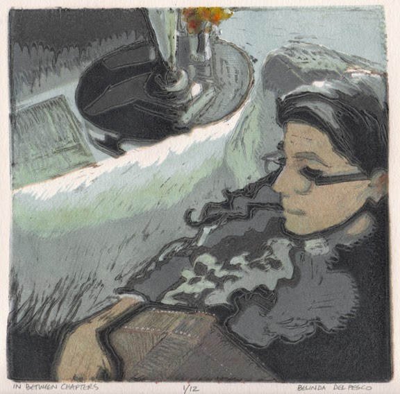 a reduction linocut portrait of a girl with a book