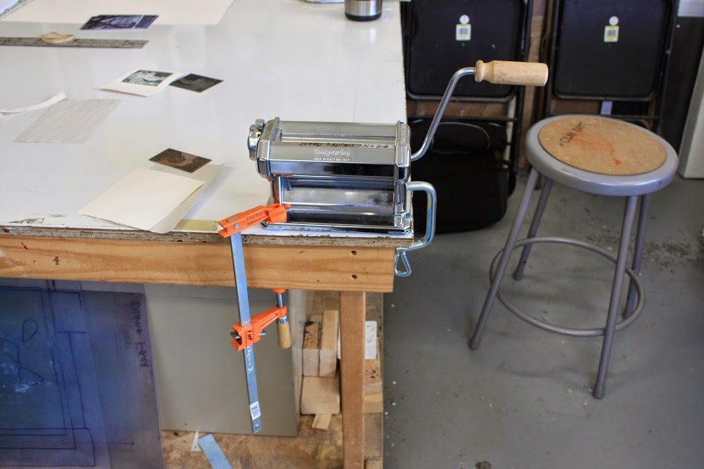 a pasta machine used as a printing press