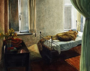 an interior scene watercolor, with a sleeping figure on a bed by some windows and a dog cuddled into the blankets