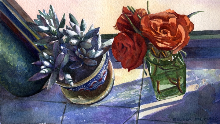 Watercolor painting of roses and succulents on a sunny windowsill by Belinda Del Pesco