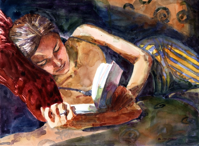 portrait of a woman reading in the sun painted in watercolor
