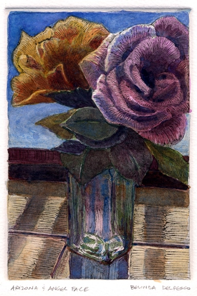 a monotype ghost print of two roses in a bud vase, tinted with watercolor