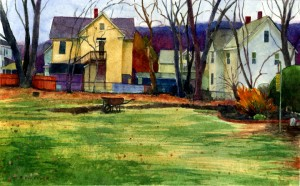 a watercolor of a lawn ringed by houses in a New England back yard painted in watercolor