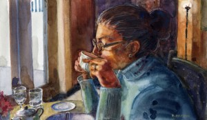 a watercolor portrait of a woman in profile sipping from a tea cup