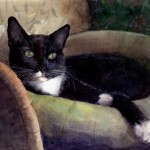 a watercolor painting of a tuxedo cat lounging in a cat bed, looking smug