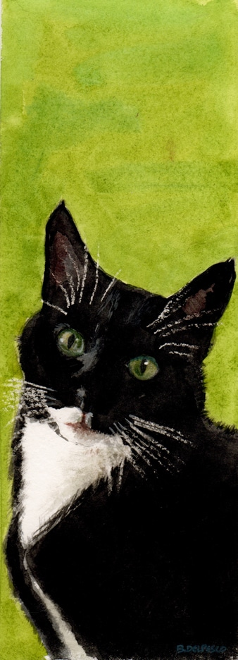 watercolor of a black tuxedo cat