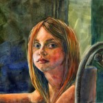 portrait of a young girl in watercolor