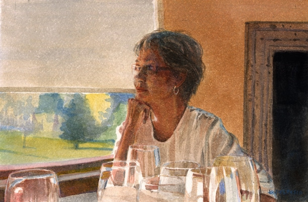 a portrait of a woman at a table strewn with wine glasses, with her chin resting on her hand and a window behind her, looking off in the dustance, pondering