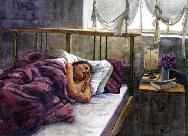 saturday morning sleep in watercolor