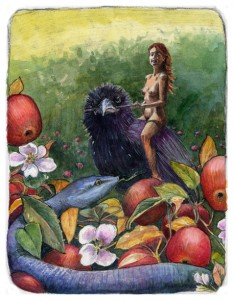 a woman riding a crow, with an apple tree in the foreground, hiding a snake