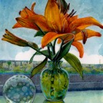 fixing a failed watercolor with colored pencil - a day lily and a paper weight