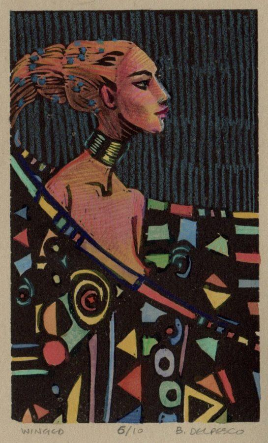 a woman in profile, wrapped in a jeweled cape, printed as a linocut, and hand colored with watercolor and colored pencil