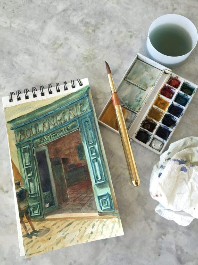 watercolor-painting-while-traveling