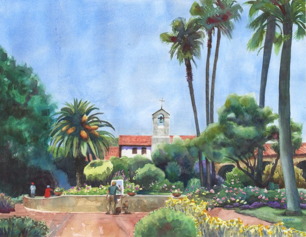 San Juan Capistrano Mission painted in watercolor