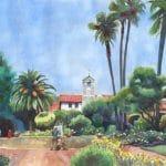 San Juan Capistrano Mission painted in watercolor