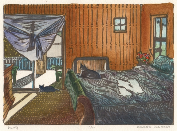 a linocut of a room with a bed, and a sunny window with two lounging cats