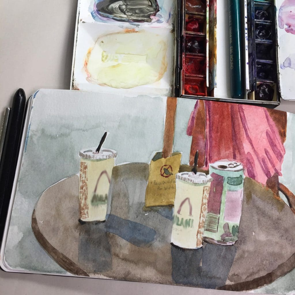 moleskine sketching while traveling with-watercolors