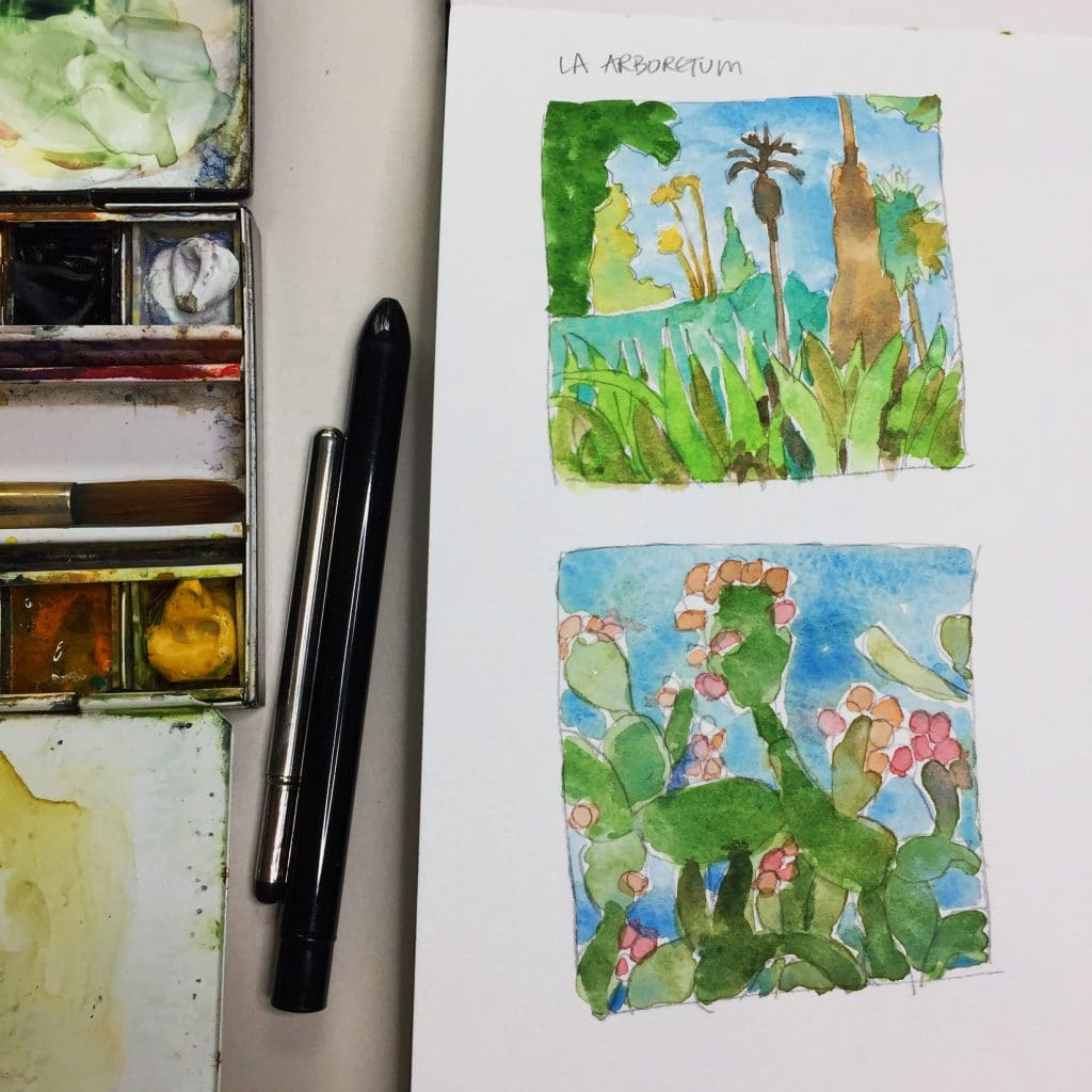 a watercolor sketch of cacti from a garden painting session