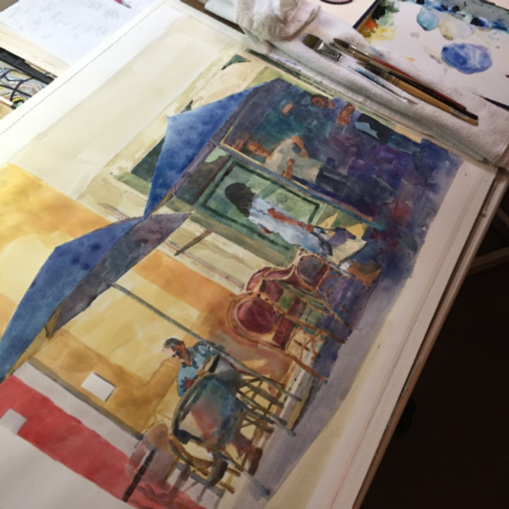 a watercolor in process of a street scene in prvence france showing people at a cafe