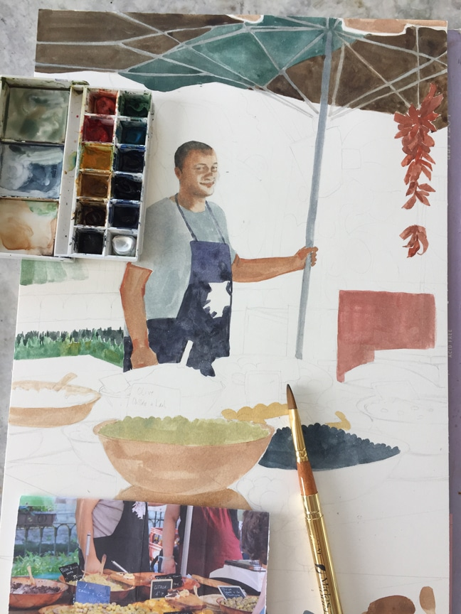 using a grid system in watercolors
