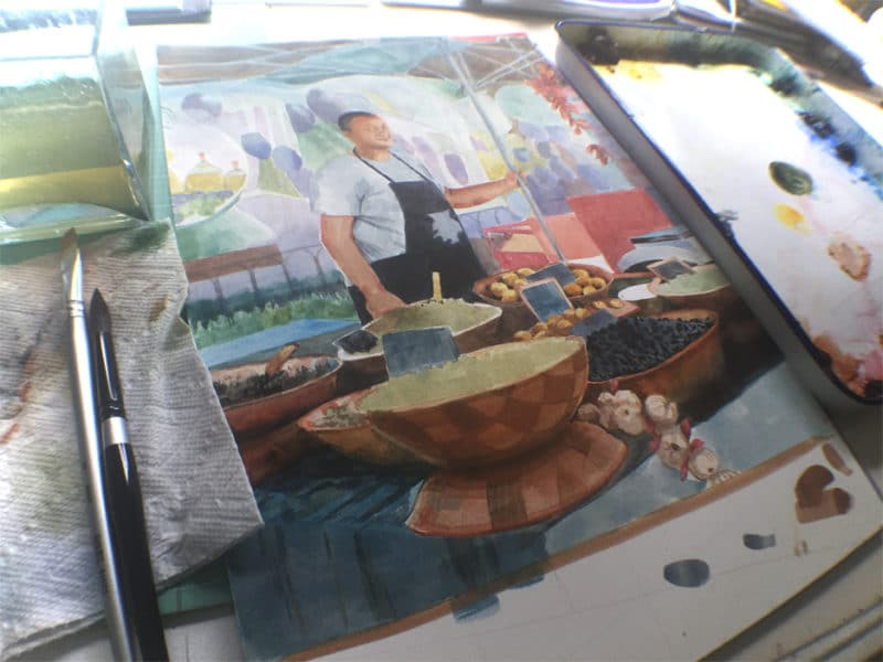 glazing in watercolor - a street vendor portrait