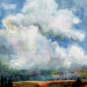 big puffy storm clouds over a sliver of copper colored landscape in a watercolor painting