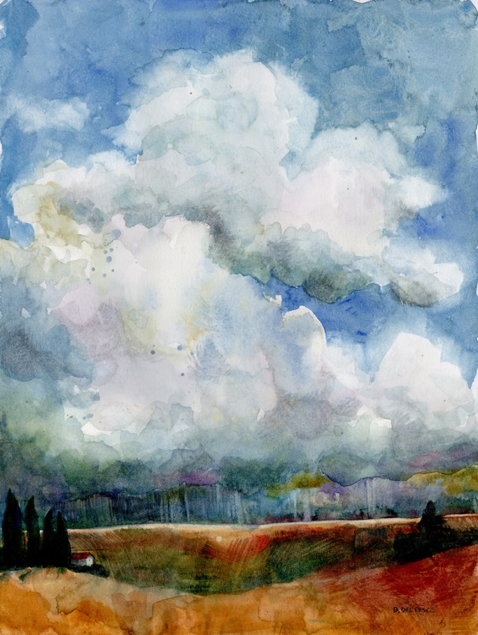 landscape watercolor of rain clouds