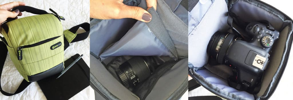 a dslr camera nestled into a well-padded carry bag