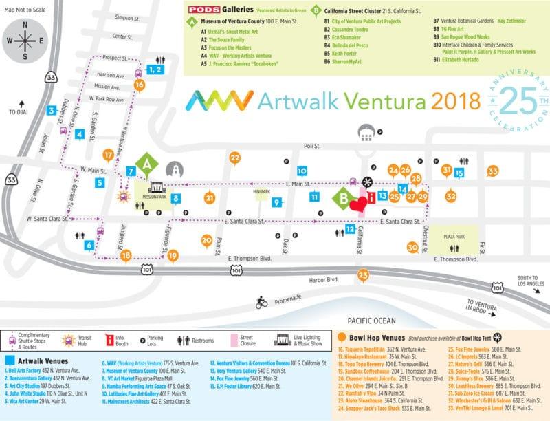 a map of the Ventura Artwalk