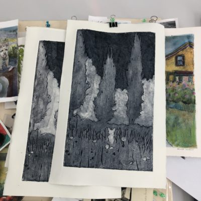 A black and white collagraph print