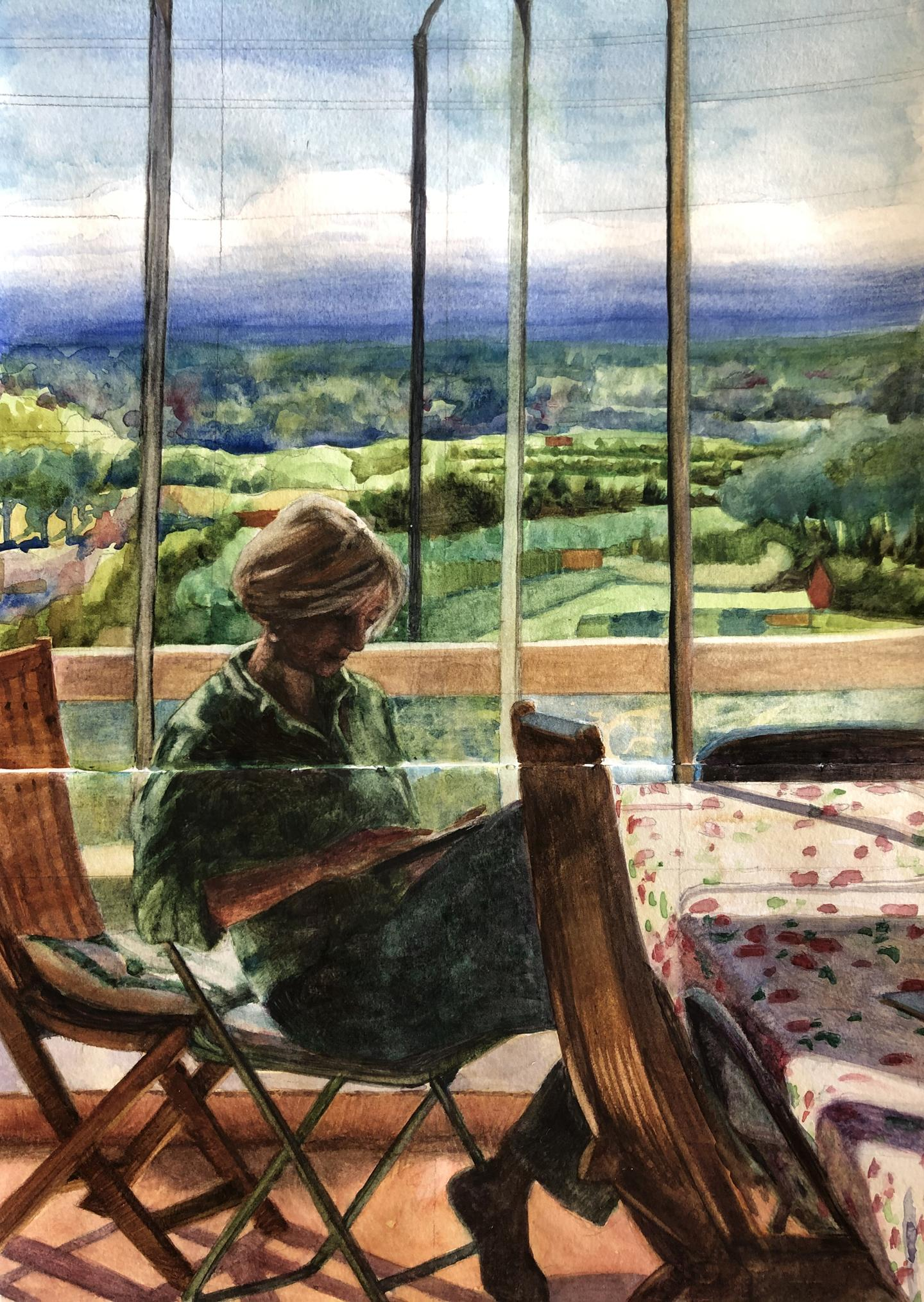 a watercolor study of a woman reading in the sun in front of a huge window looking out over a beautiful distance landscape.