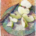 a light field monotype of a plate of sliced green apples with a paring knife resting on the rim of the plate