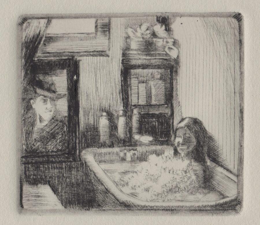 A Drypoint etching from plexiglass of a girl sitting in a bathtub