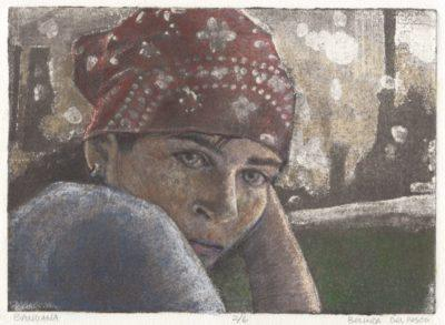 silk aquatint print portrait of a girl in a bandana