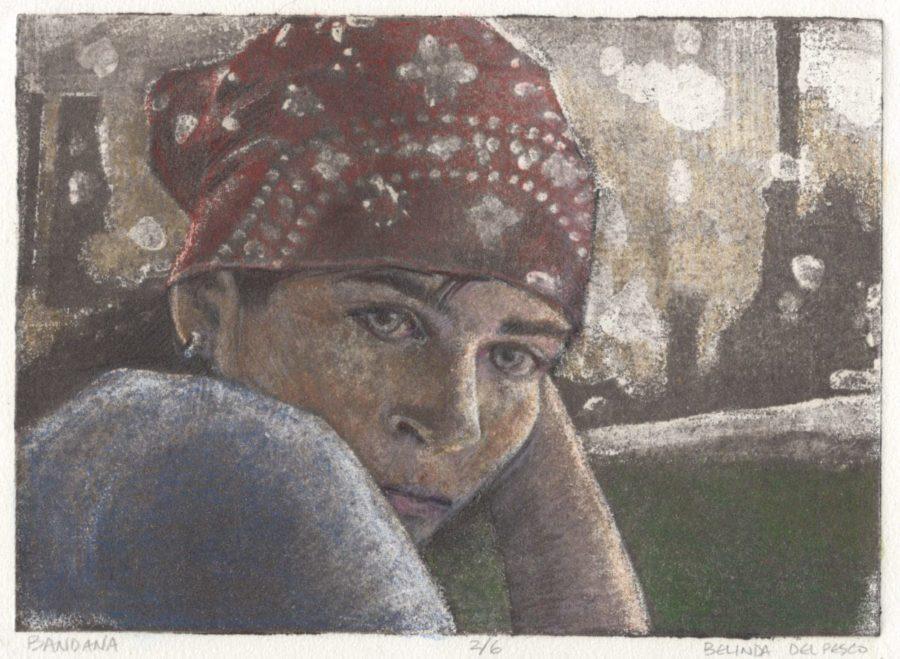 silk aquatint print portrait of a girl in a bandana