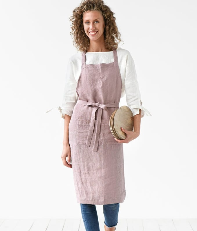 pink linen stone washed artist's studio apron
