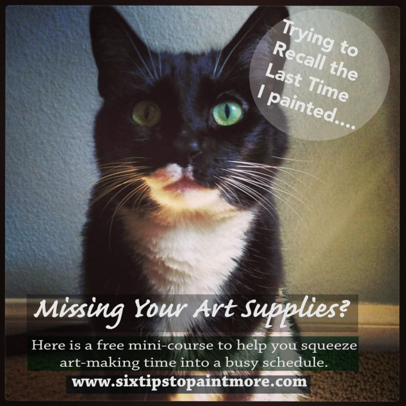 a cat asking the question: Are You Missing Your Art Supplies?