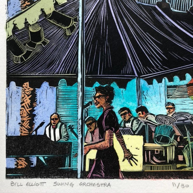 a linocut, printed with black ink, and painted with watercolor, showing a singer and a swing band
