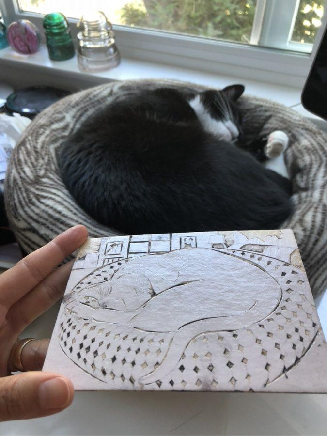 a collagraph plate of a sleeping cat, next to the sleeping cat model