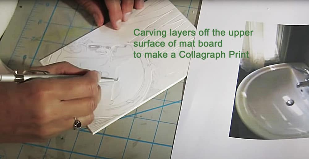 carving the uppermost surface away from a piece of mat board to make a collagraph print