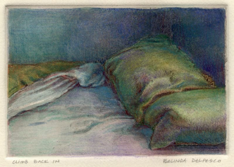 dark field monotype ghost print with watercolor and colored pencil of a bed and pillows with rumpled sheets