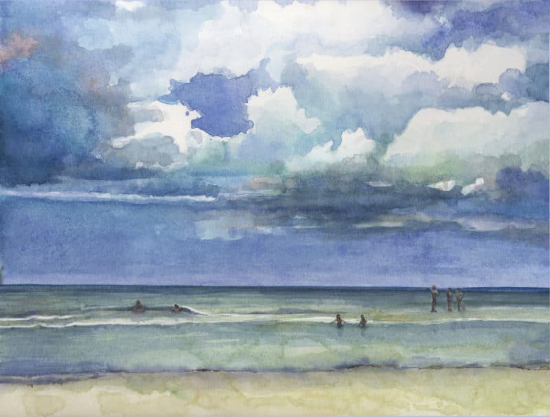 a watercolor of a beach shore with receding clouds over the ocean