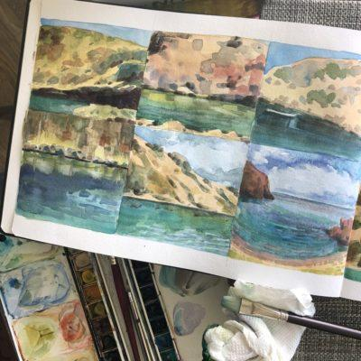 watercolor sketchbook practice with coastal cliff landscape scenes