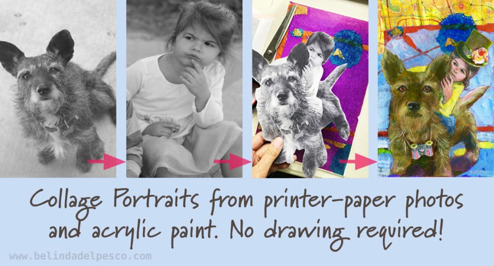 Collage Portraits from Printer-Paper photos and acrylic paint with no drawing skills required.