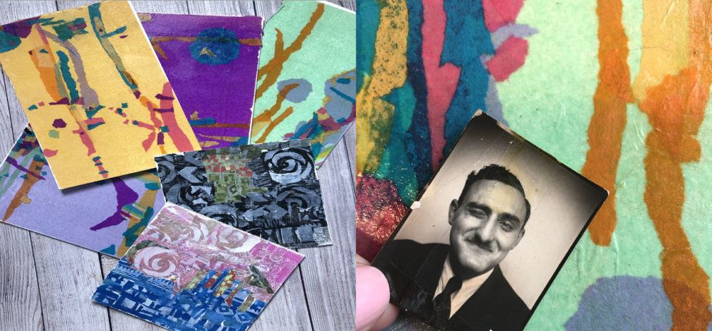 How to make torn tissue paper collage with scans of vintage family photos
