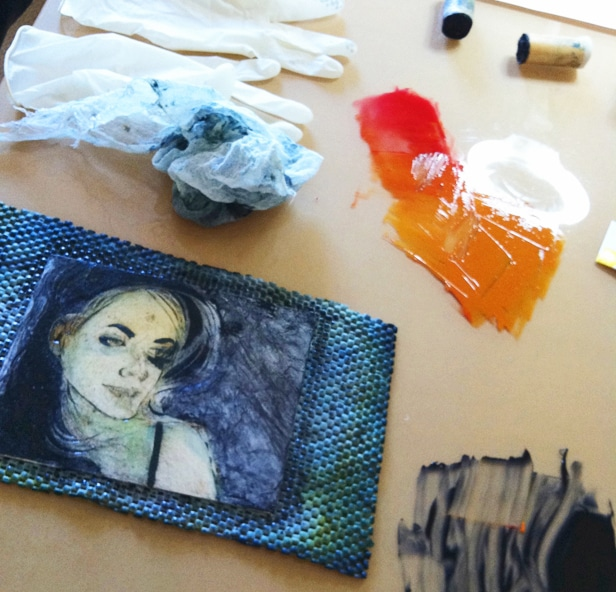 inking a collagraph plate with full color